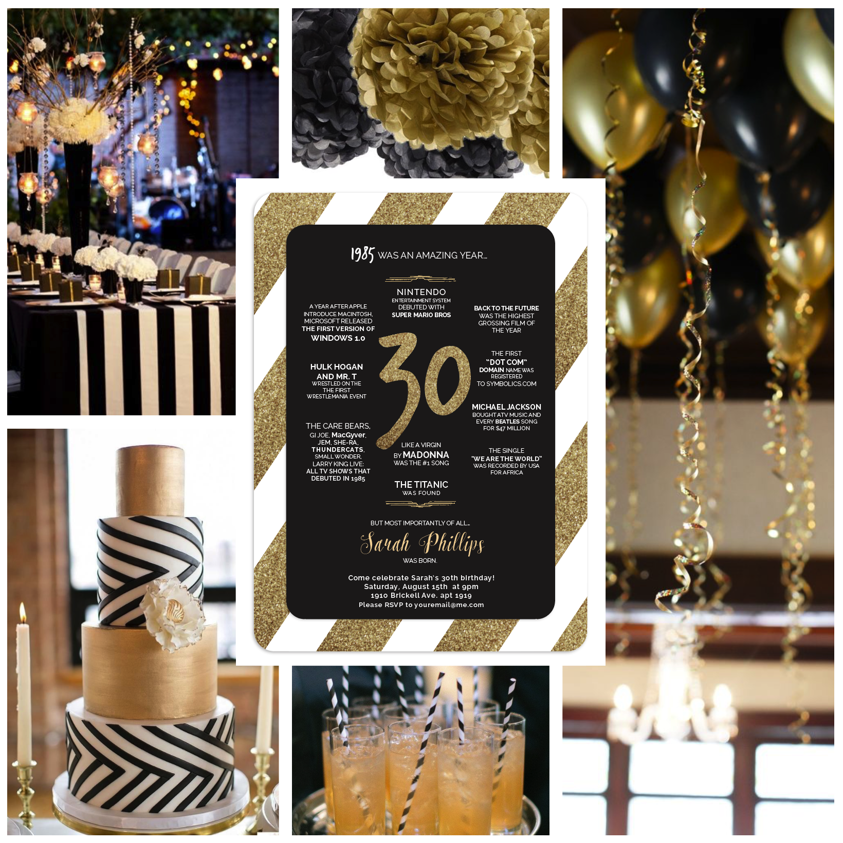 30th Birthday Party Invitation Designed By Pea Nut Black White