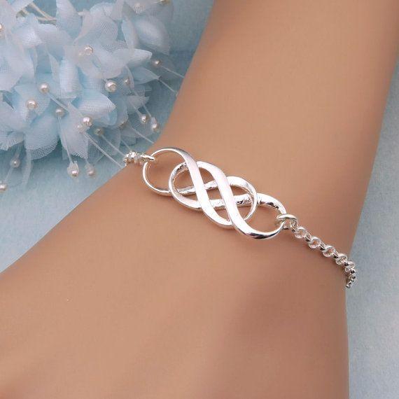 Silver Double Infinity Bracelet Sisters Bracelet Best Friends Gift