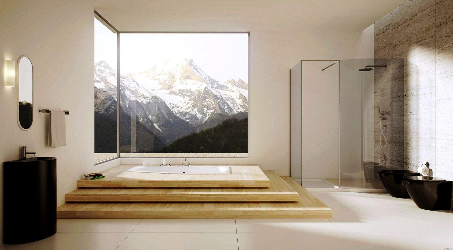 Simply Modern Bathroom Idea With Unique Drop-in Tub In Three Levels ...