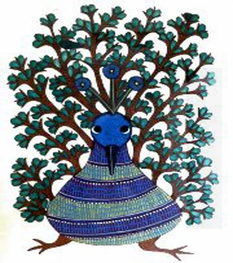A Bird by Rajendra Shyamn, Gond art, India