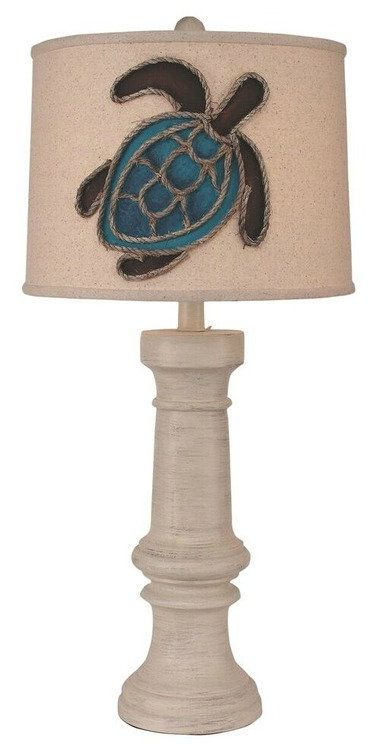 Chunky Turquoise Turtle Table Lamp Sea Turtle Love Beach