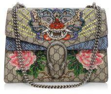 ef0b05d78a9 Gucci Dionysus Medium Embroidered GG Supreme   Snakeskin Chain Shoulder Bag
