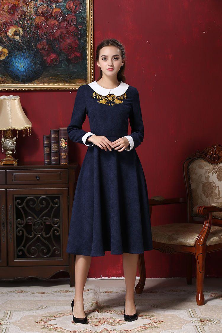 Original retro embroidery empire waist dress long sleeve slim women