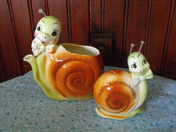 Vintage Enesco Snappy the Snail Creamer/Planter and by peacenluv72, $34.75