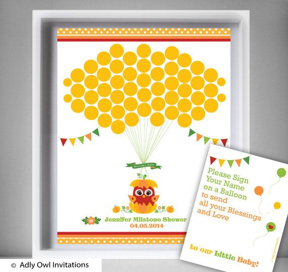 Baby Owl Pumpkin Guest Book Printable by adlyowlinvitations   Guest ...