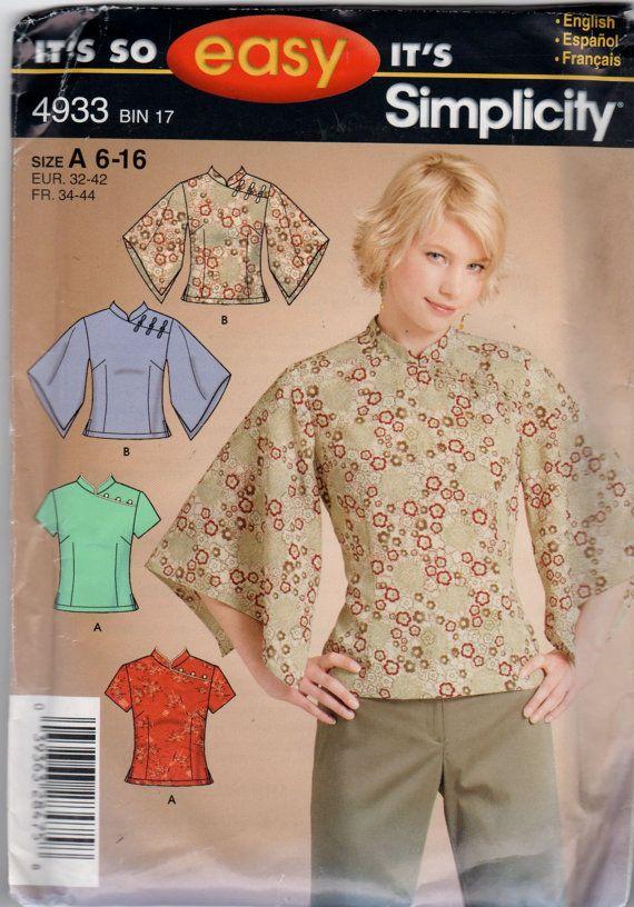 Simplicity 4933 Misses Blusas Tops Pattern Oriental Style Princess