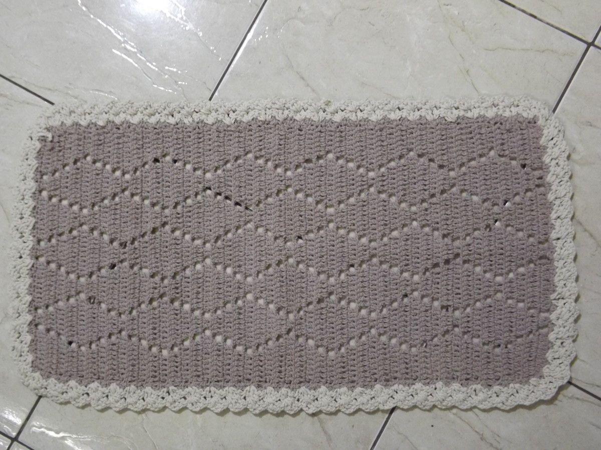 Tapete De Croch Em Barbante Formato Retangular Com Desenho  -> Tapetes Geometricos Sala