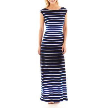 2bfcc0a7fe Liz Claiborne Cap-Sleeve Striped Maxi Dress found at  JCPenney