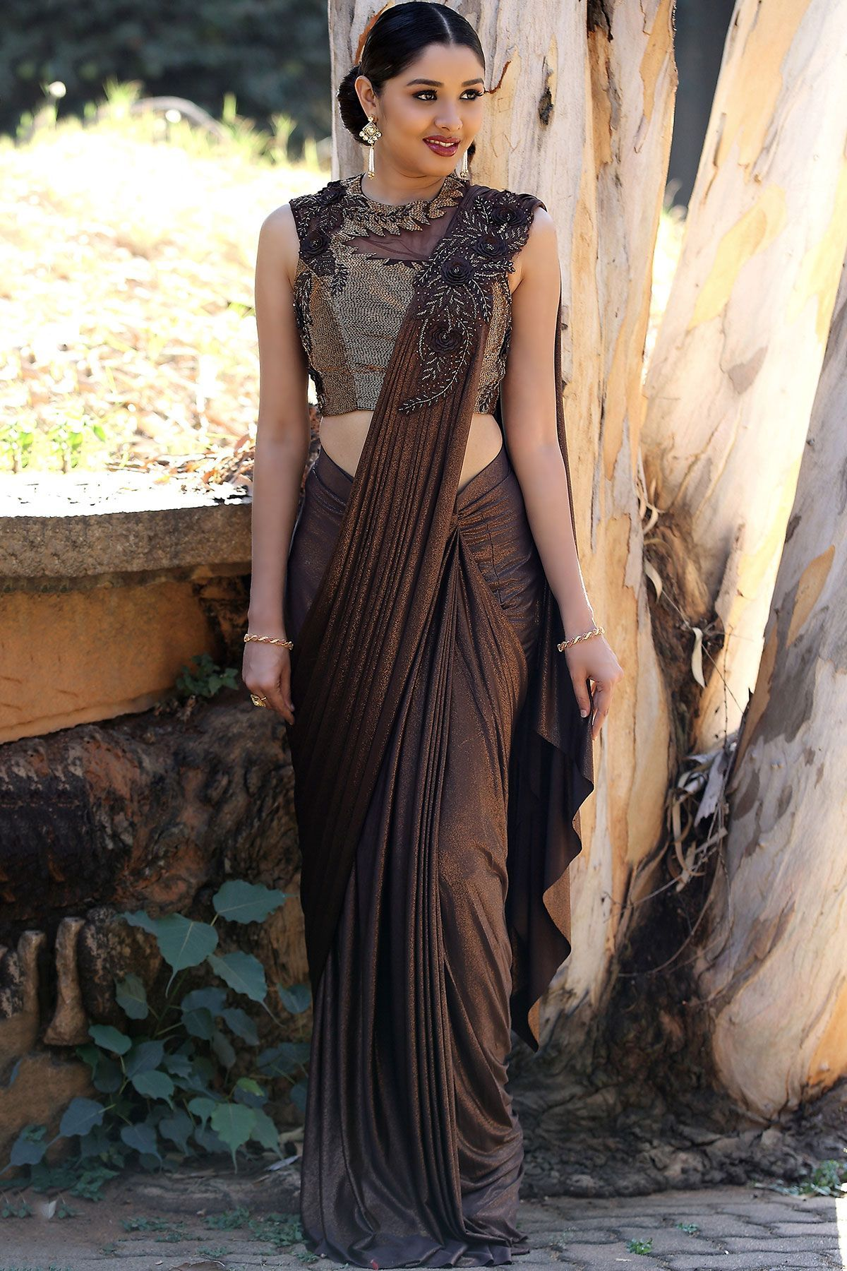bcd588b804823 Buy Brown Lycra Applique Embroidered Draped Saree Online | Designer ...