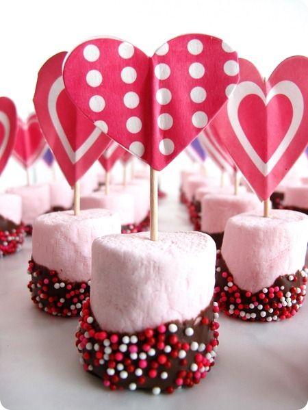 Romantic treats - mashmallows dipped in chocolate  ...fun to make