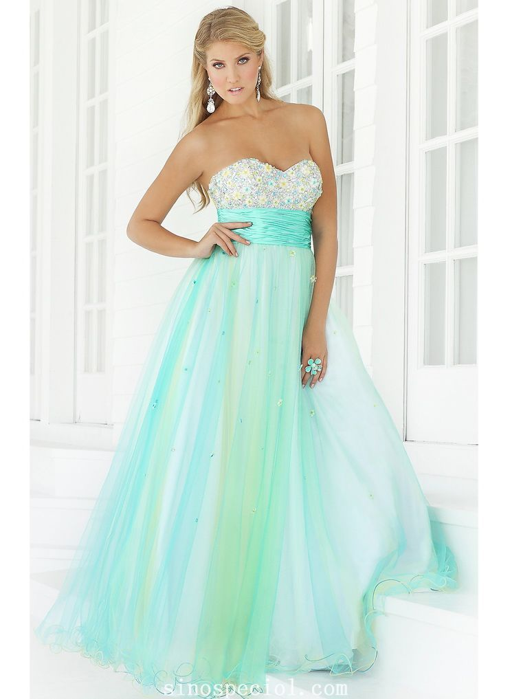 Flowing Ball Gown Sweetheart Neckline Beadings Ombre Organza Prom ...