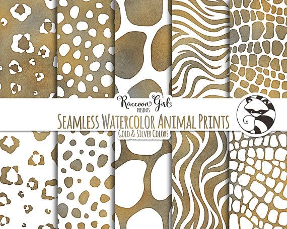 7f1b29f1664c Seamless Watercolor Animal Prints in Gold and Silver Colors Digital Paper  Set - Personal   Commercial Use