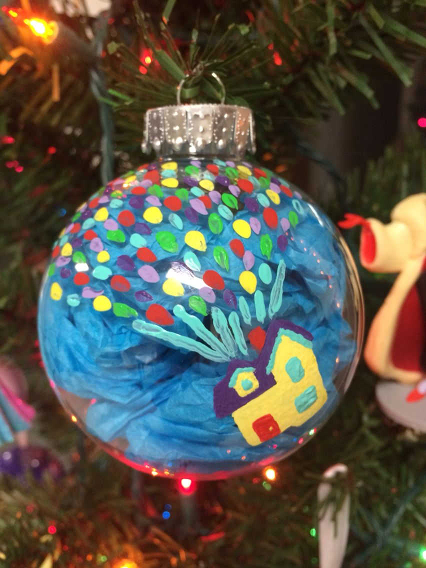 Diy Disney Pixar S Up Balloon House Christmas Ornament Hand Painted Disney Diy Christmas Ornaments Disney Ornaments Diy Disney Christmas Ornaments