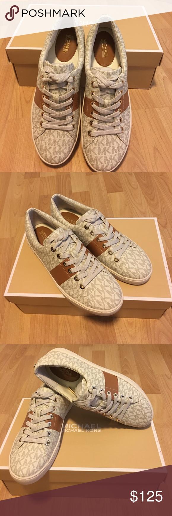0cf2ea44b50 Michael Kors Keaton Lace Up Sneakers Michael Kors Keaton Lace Up Mini MK  Logo PVC . Vanilla/ Acorn Michael Kors Shoes Sneakers