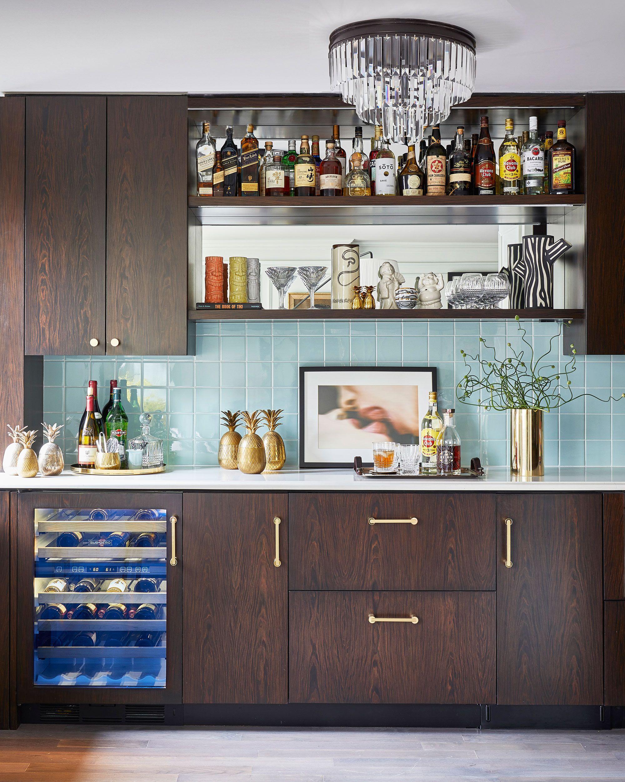 Dark Wood Kitchen With Brass Hardware Love The Decorative Brass Accents The Brass Vase Brass Tra Home Bar Designs Kitchen Interior Kitchen Storage Solutions