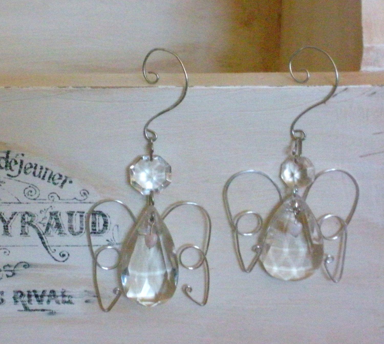 Repurposed Vintage Chandelier Crystal Christmas Angel, Wire Hanging ...