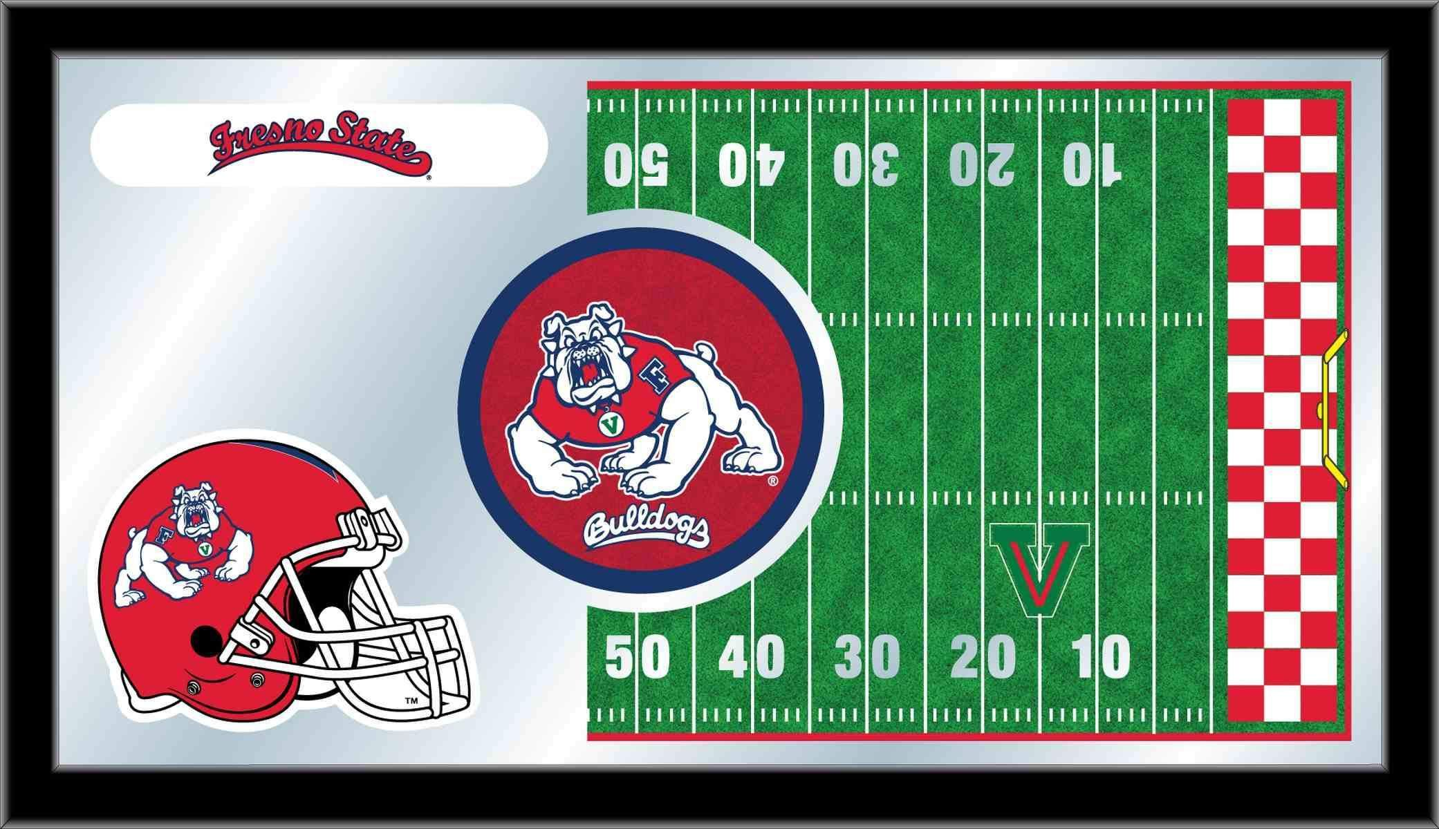 Fresno State Bulldogs Hbs Football Framed Hanging Glass Wall