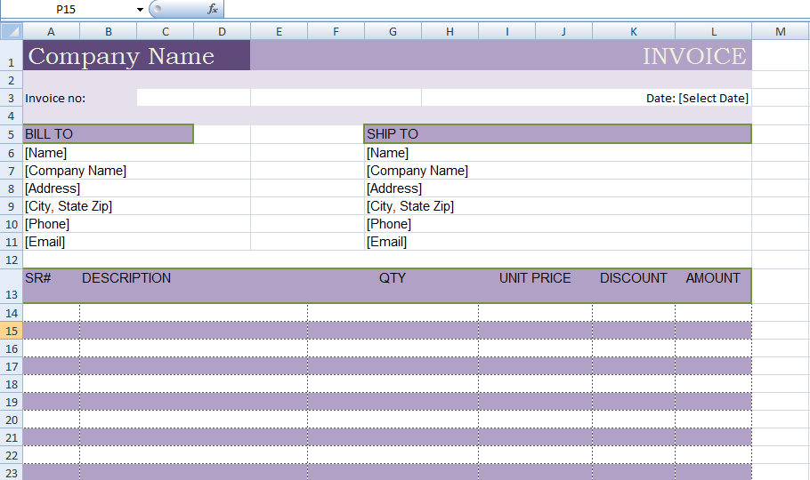 Microsoft Excel Billing Invoice Template Xls  Project Management