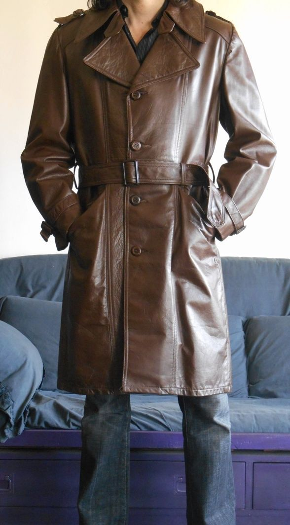 4fdaae0fa Mens american leather trench coat vintage 70's size M in ...
