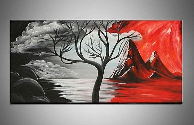 4ccd964f89a Handpainted 3 Piece Black White Red Wall Art Modern Abstract Oil ...