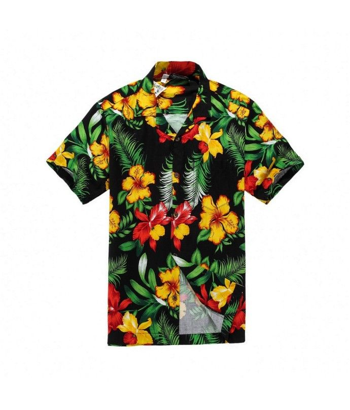141ea4a1 Men Hawaiian Aloha Shirt in Black with Yellow and Red Floral in 2019 ...