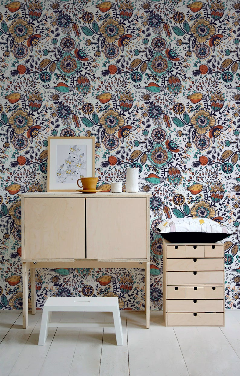 Removable Wallpaper Peel And Stick Wallpaper Wall Paper Wall Etsy Boho Wallpaper Removable Wallpaper Wall Wallpaper