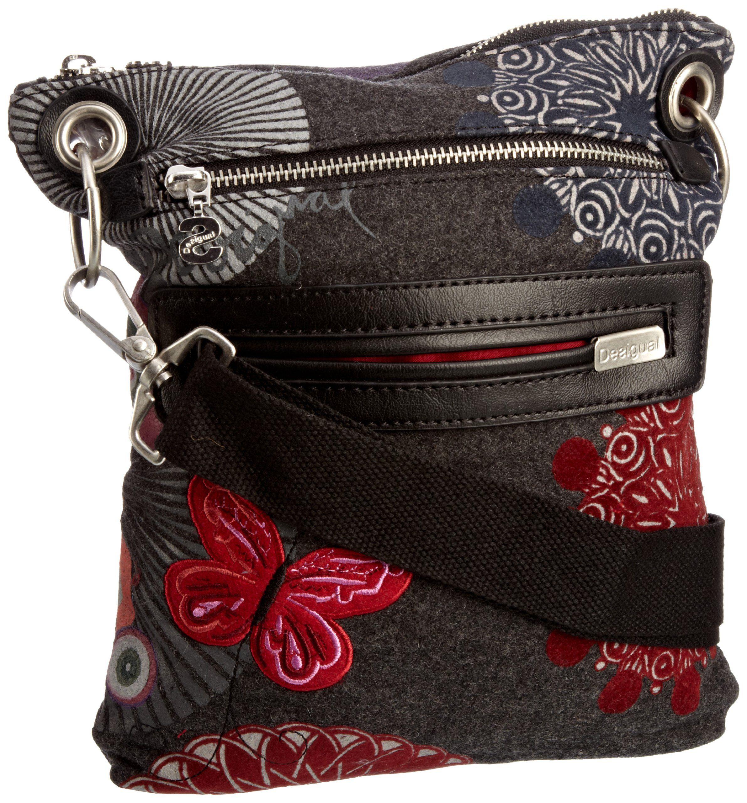 feb352b55 Desigual - Bolso bandolera de franela para mujer, color gris, talla 23x31x1  cm: Amazon.es: Zapatos y complementos