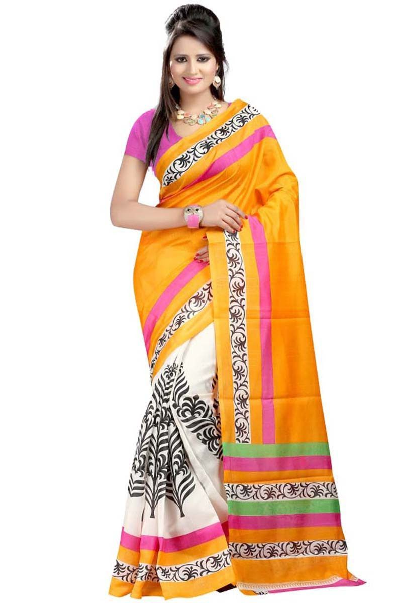 Silk saree lehenga orange bhagalpuri silk printed saree  printed sarees on variation