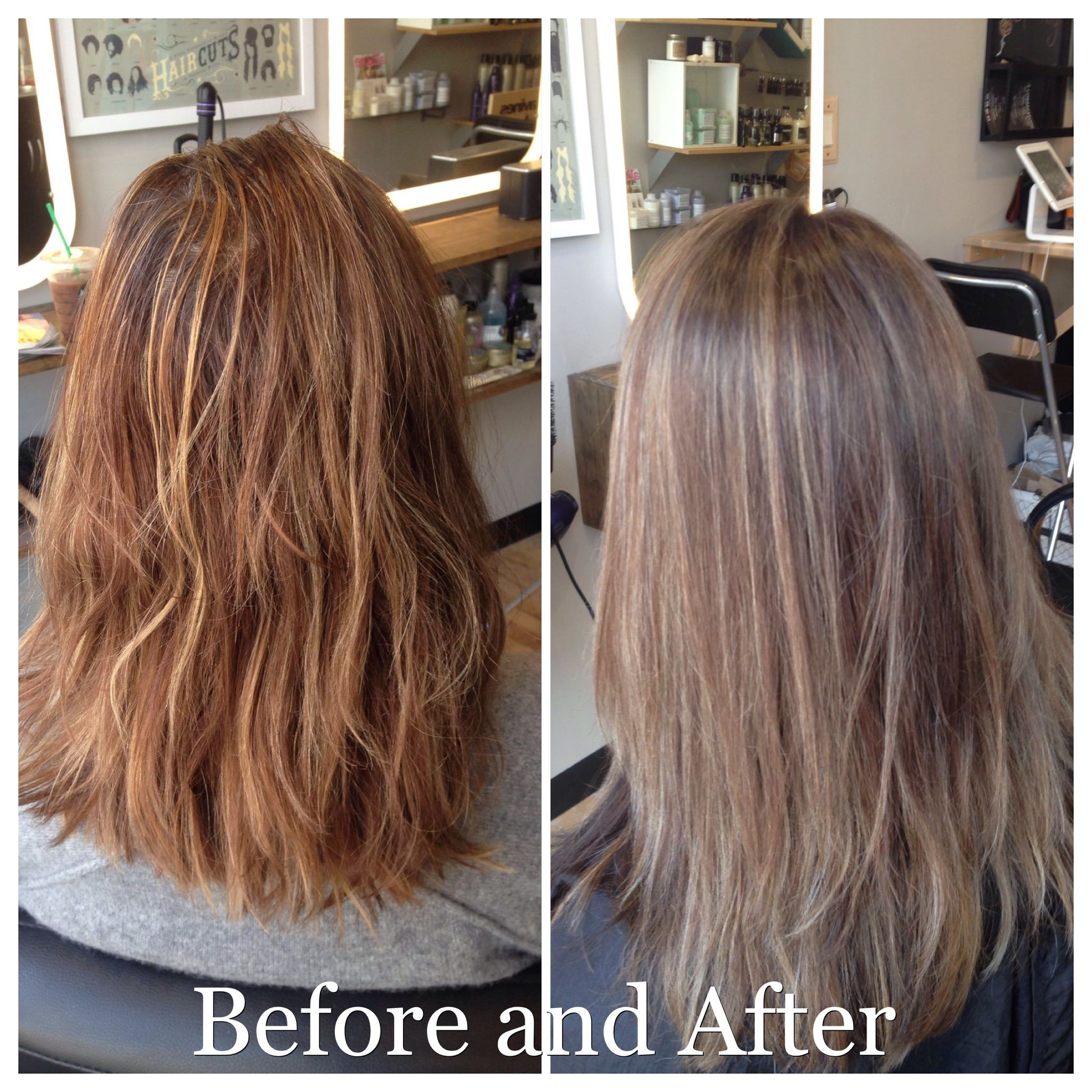 The Difference Of Warm And Brassy Brunette To A Cool And Neutral Brunette With Blonde Highligh Neutral Blonde Blonde Highlights Brunette With Blonde Highlights