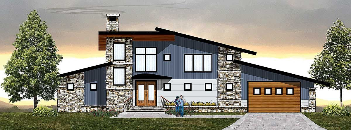 Plan 18829ck Modern House Plan With Two Story Great Room Industrial House Exterior Modern House Plans Contemporary House Exterior