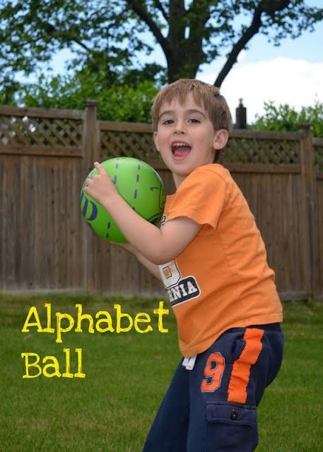 Preschooler Game: Alphabet Ball -- many different variations for different learning concepts and age levels. (ABCs, letter sounds, rhyming, etc.)