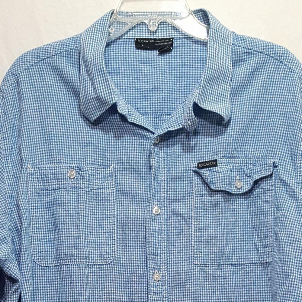 8008b2a51 Rocawear Plaid Shirt Size 3XL Blue White Short Sleeve Mens #Rocawear  #ButtonFront