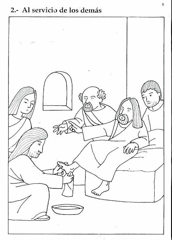Pinto Dibujos: Jesús lavando los pies de sus discípulos | freddy ...