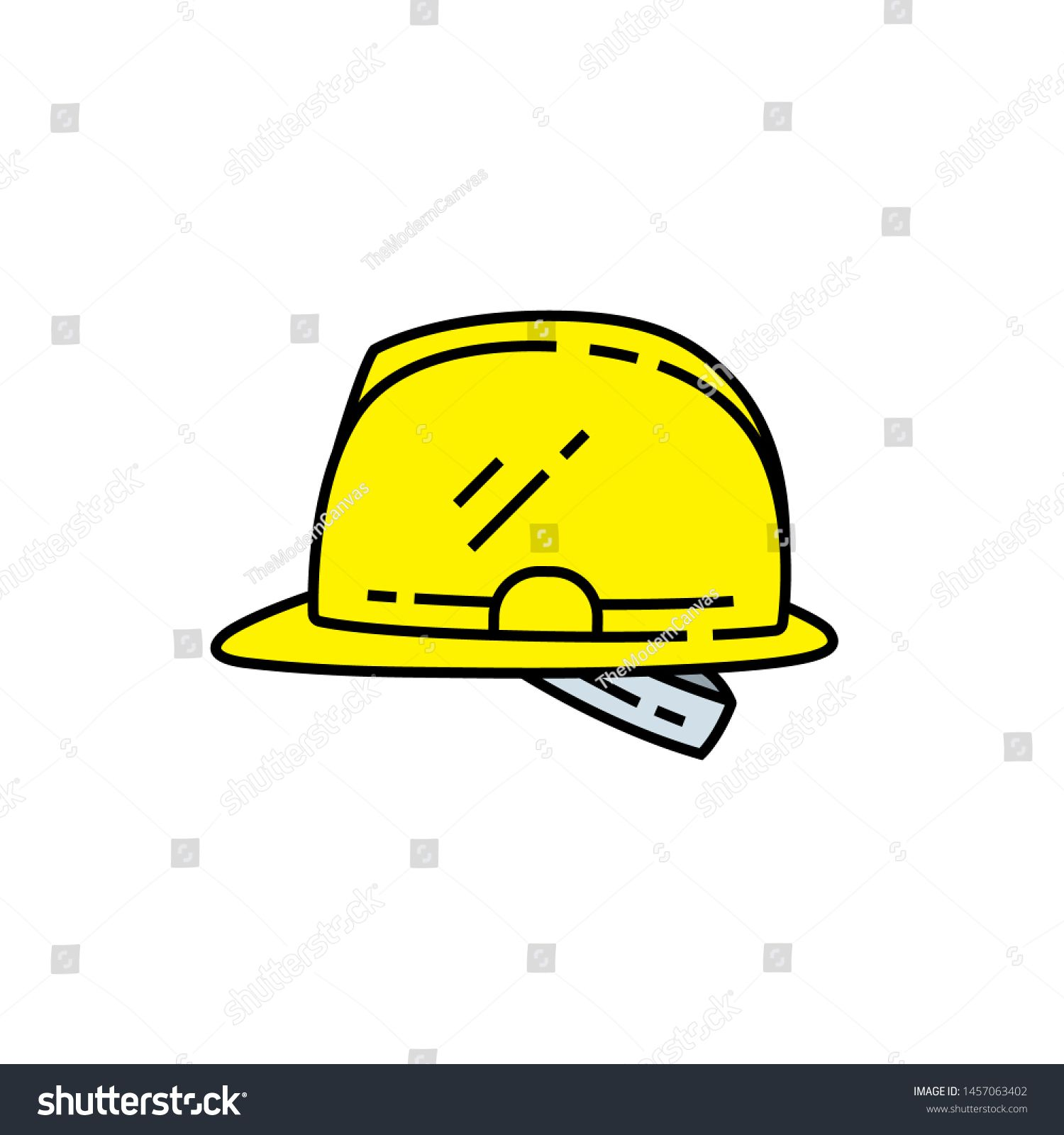 Safety Helmet Line Icon Yellow Hard Hat Symbol Vector Illustration Sponsored Sponsored Icon Yell Motion Graphics Animation Flat Design Dog Paws Vector