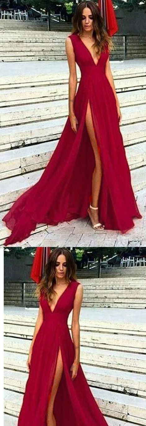 d706111a707 LP8901 Red Long Sexy Slit Prom Dress V Neck Evening Party Dress 2018 ...