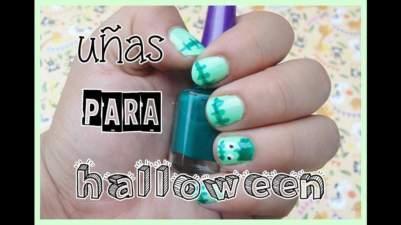 diseño de uñas para halloween de frankenstein facil y rapido | diy ...