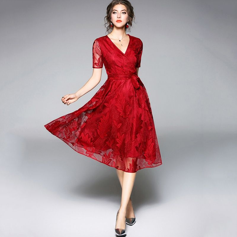 305ddc7992a Tanpell v neck cocktail dress burgundy short sleeves lace tea length a line  gown women party prom see through cocktail dresses