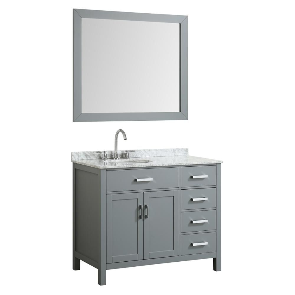 Belmont Decor Hampton 43 In Bath Vanity In Gray With Marble
