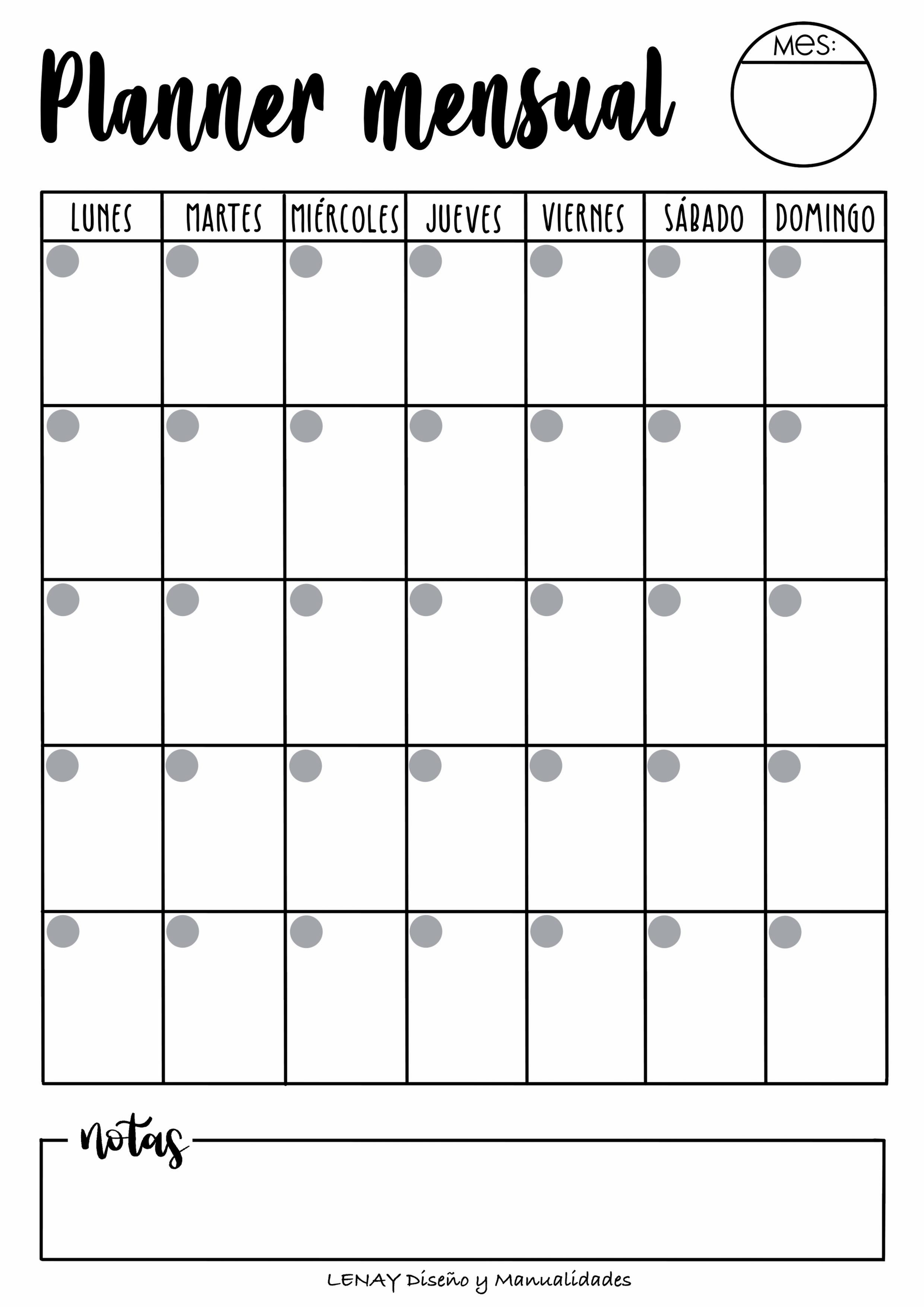 Plantillas Planner Mensual