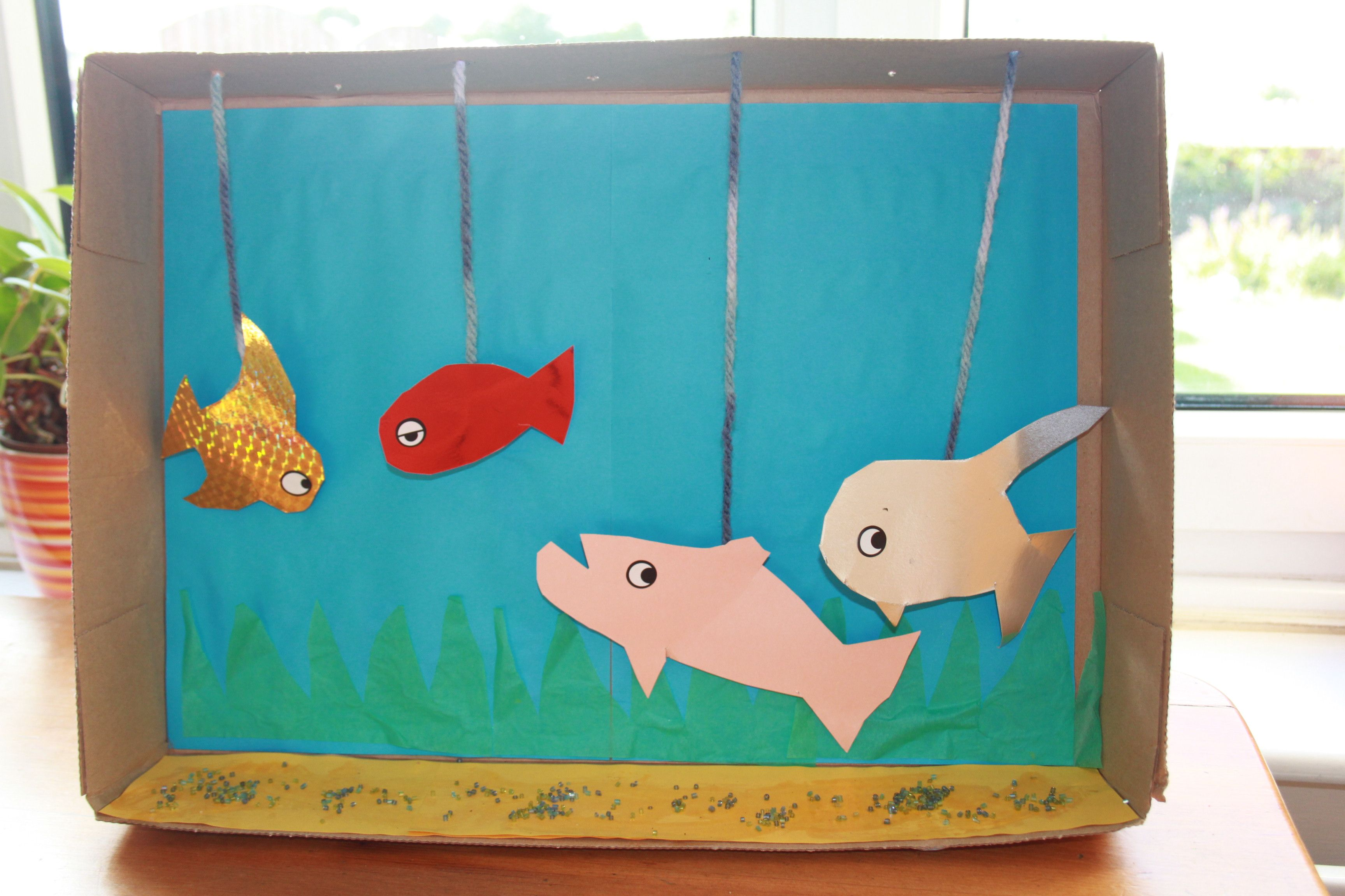 MAKE YOUR OWN FISH TANK - A3 cardboard box works best, decorate ...