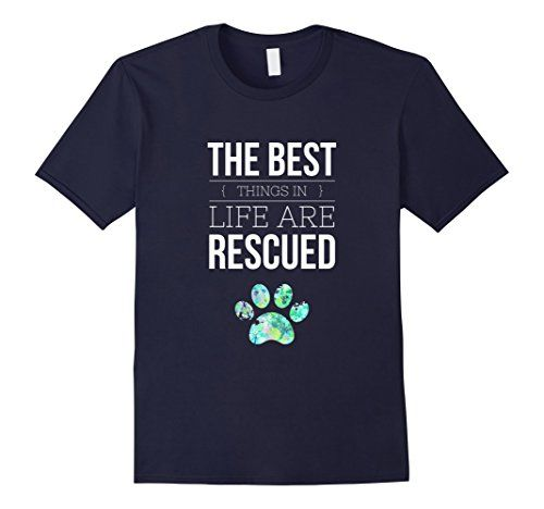 Men's The Best Things in Life are Rescued, Dog Rescue T Shirt 2XL Navy  I Love my Dog Lightweight, Classic fit, Double-needle sleeve and bottom hem