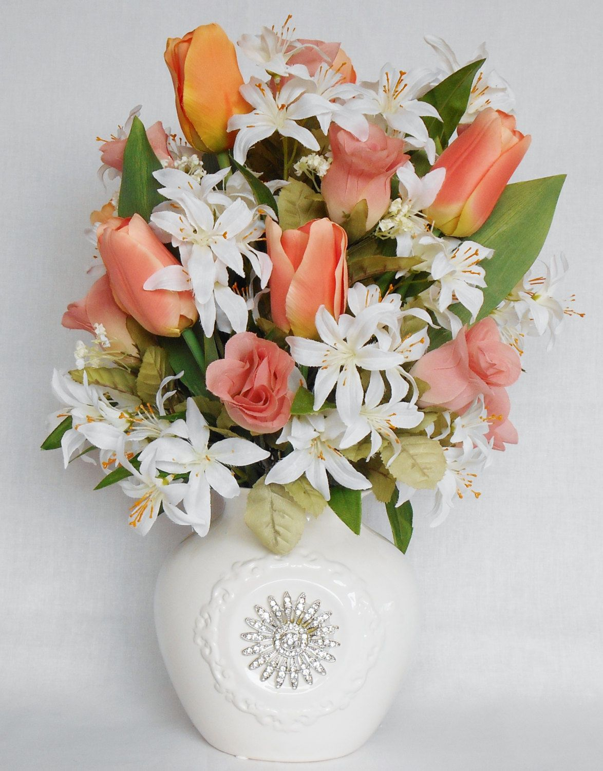 silk flower arrangement, coral tulips, coral rosebuds, white tiger