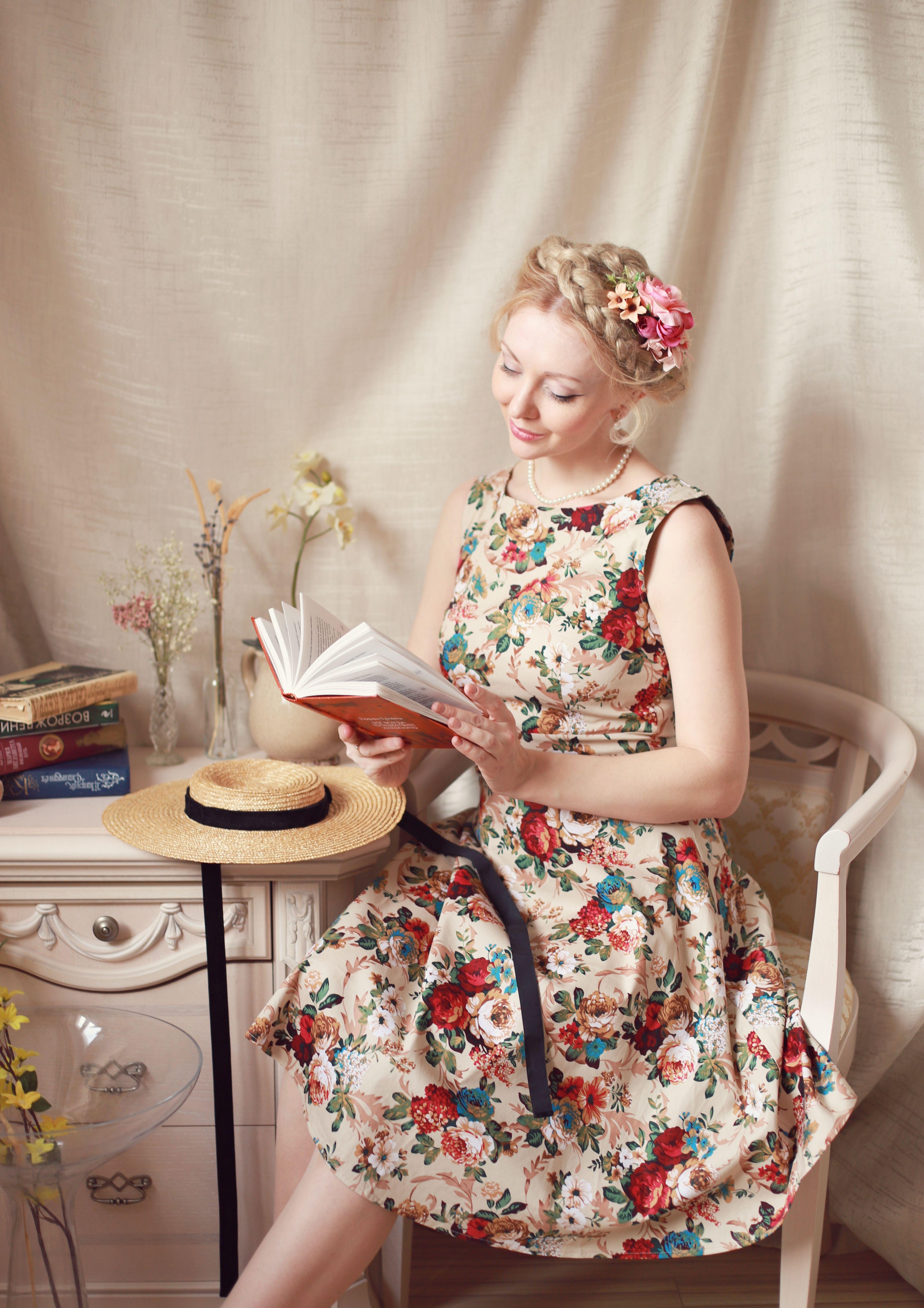 Floral Print Self Tie Sleeveless Vintage Dress Vintage Tea Dress Tea Dress Party Dresses For Women [ 5779 x 4082 Pixel ]