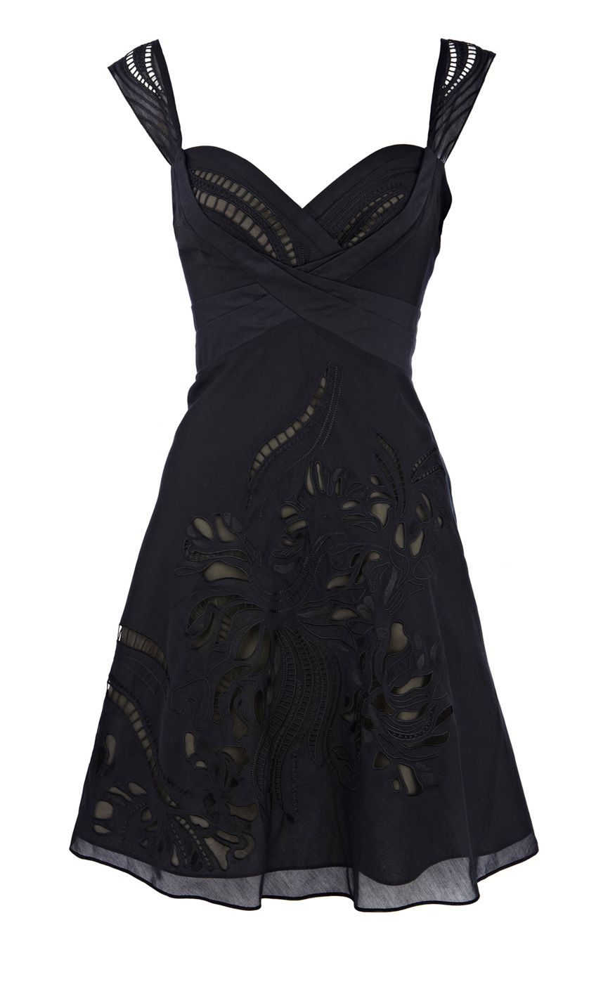 cutwork dress black