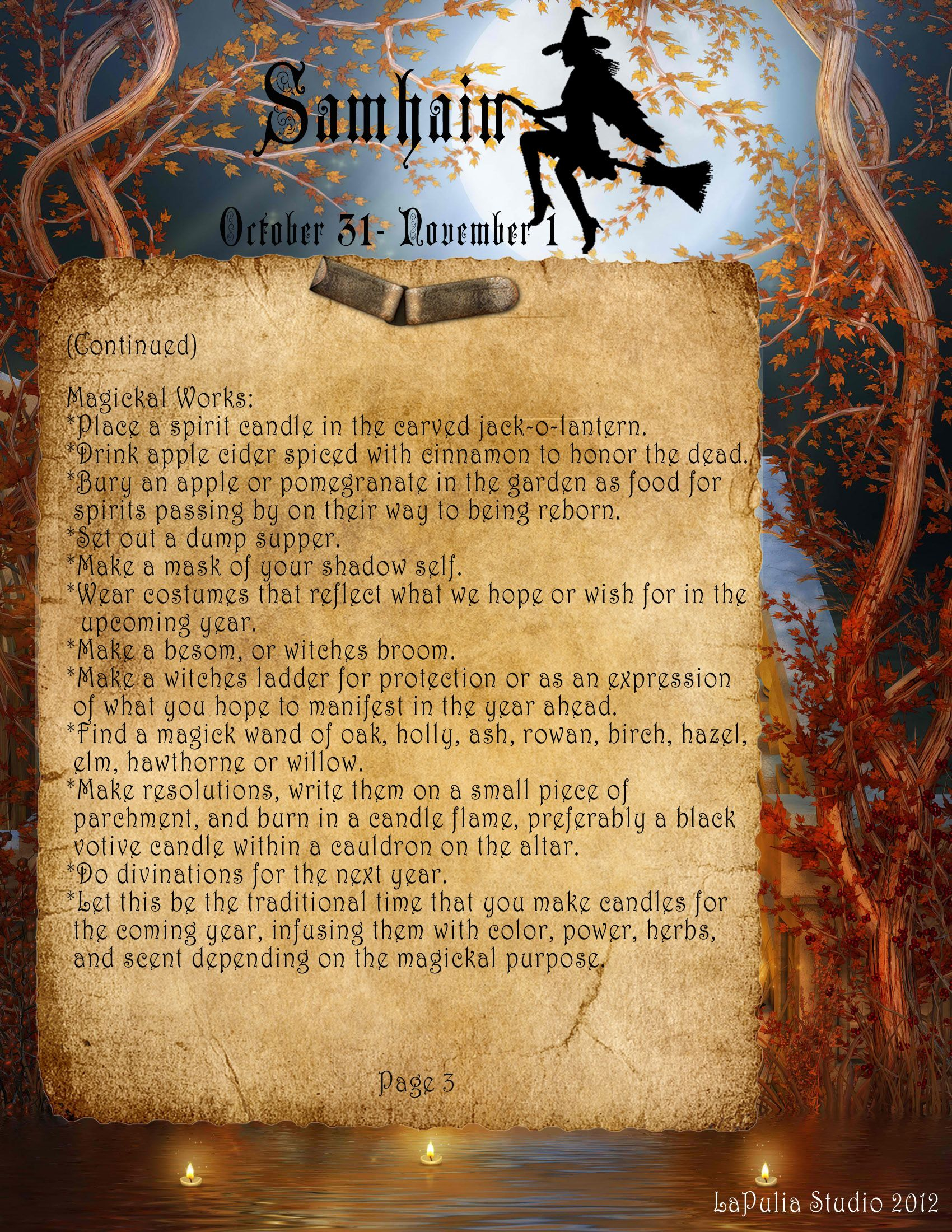 samhain page 3 visit lapulia studio website to download your free book of shadows - Free Page 3