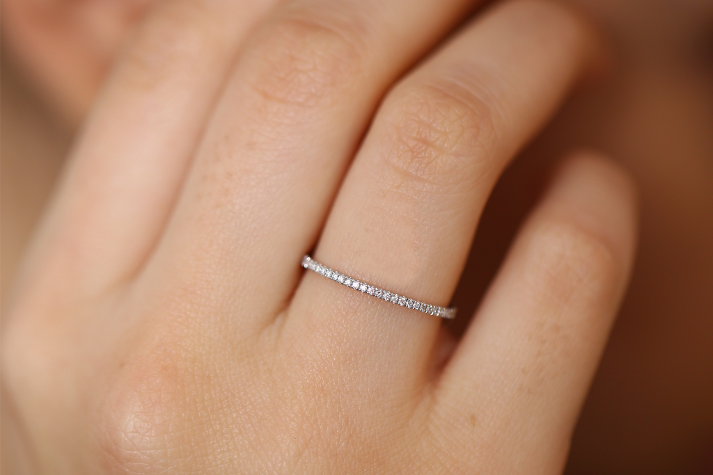 14k Ultra Thin 1mm Micro Pave Diamond Eternity Wedding Band