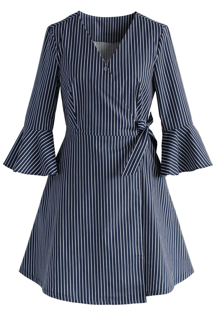 City Muse Wrapped Shirt Dress in Stripes - New Arrivals - Retro, Indie and…