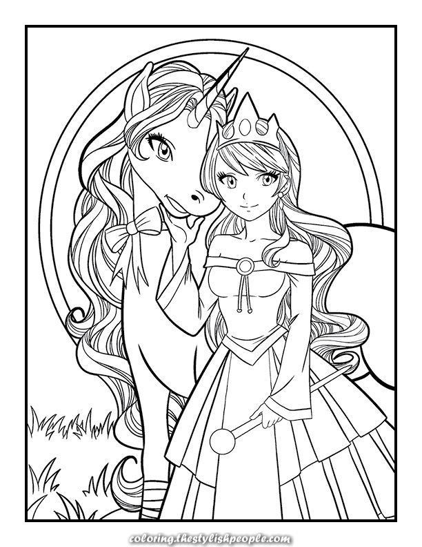 Mermaid Unicorn Coloring Page - youngandtae.com in 2020 ...