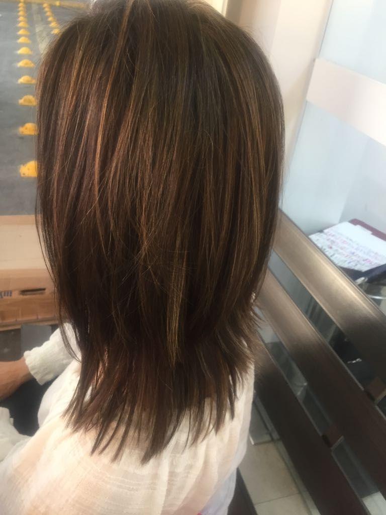 Shoulder Length Brunette With Caramel Highlights Fine Hair