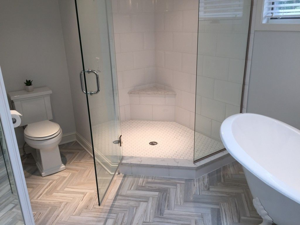 Floor Tile: 3x12 Flow Sky (herringbone Pattern), Shower Wall Tile: 10x15